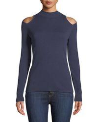 MICHAEL Michael Kors - Mock-neck Cutout-shoulder Long-sleeve Metallic-knit Sweater - Lyst
