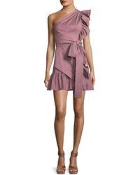 Alexis - Adela One-shoulder Ruffle Mini Dress - Lyst