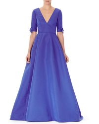 Carolina Herrera - V-neck Bow-cuff Silk Gown - Lyst
