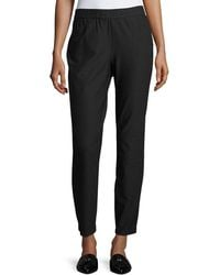 Eileen Fisher - Stretch Crepe Back-zip Pants - Lyst
