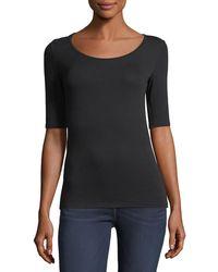Neiman Marcus - Soft Touch Half-sleeve Scoop-neck Top - Lyst