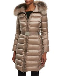 lyst moncler moka shiny fitted puffer coat with hood in black rh lyst com