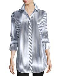 Go> By Go Silk Long-sleeve Skinny-striped Big Shirt White/black