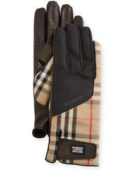 Burberry Men's Leather-palm Bimaterial Gloves - Natural