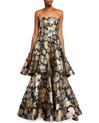 Aidan Mattox Strapless Metallic Jacquard Godet Gown