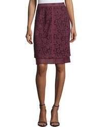 J. Mendel - Lace Overlay Pencil Skirt - Lyst