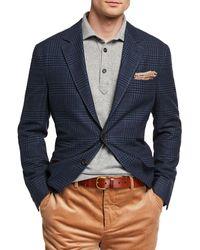 Brunello Cucinelli Men's Plaid Two-button Jacket - Blue