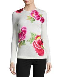Naeem Khan   Long-sleeve Floral-appliqué Sweater   Lyst