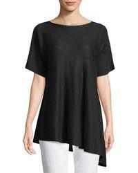 Eileen Fisher - Short-sleeve Asymmetric Linen Top - Lyst