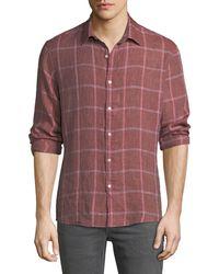 Michael Kors - Men's Hartman Linen Plaid Button-down Shirt - Lyst