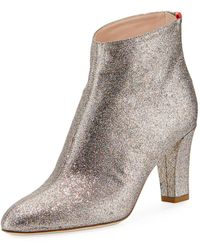 SJP by Sarah Jessica Parker Minnie 75mm Sparkle Glitter Almond-toe Booties - Grey