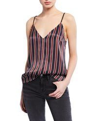 FRAME Classic Striped V-neck Cami - Blue