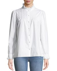 M.i.h Jeans - Danvers Pintuck High-neck Cotton Blouse - Lyst