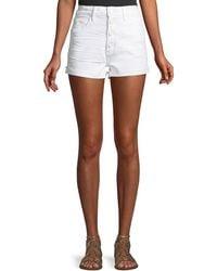 PAIGE - Sarah Button-fly Denim Cutoff Shorts - Lyst