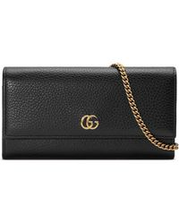 d56837af4e1 Gucci - Women s Petite Marmont Wallet On Chain - Black - Lyst. Gucci - GG  Marmont Medium Quilted Flap Wallet Black - Lyst
