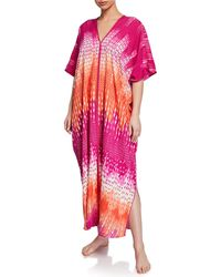 Natori Cozumel Graphic-print Square Caftan - Pink