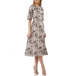 Kay Unger - Jacquard Dolman-sleeve Dress - Lyst