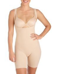 Tc Fine Intimates Wear Your Own Bra Mid-thigh Bodysuit Shaper - Natural