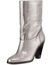 MICHAEL Michael Kors - Divia Diamond Metallic Leather Mid-calf Boots - Lyst