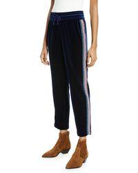 Mother The Lounger Ankle Velvet Jogger With Glitter Racer Stripes - Blue