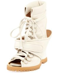 Chloé - Lace-up Wedge Bootie Sandal - Lyst