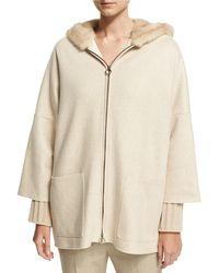 Agnona - Cashmere Zip-front Parka With Mink Fur Hood - Lyst