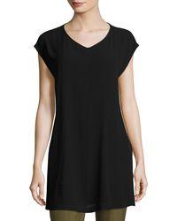 Eileen Fisher - V-neck Silk Georgette Crepe Tunic W/ Pockets - Lyst
