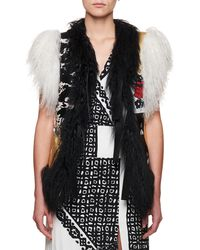 Altuzarra - Belleville Mongolian Shearling Fur Belted Leather Vest With Embroidery - Lyst