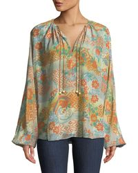 Elizabeth and James - Chance Ruched-neck Long-sleeve Printed Silk Blouse - Lyst