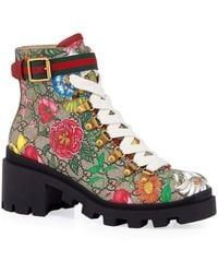 Gucci Trip 40mm Floral Canvas Hiker Boots - Brown