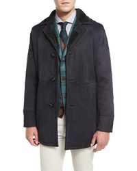 Kiton - Lambskin Leather Coat W/contrast Shearling Lining - Lyst