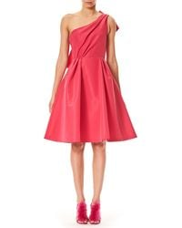 Carolina Herrera - One-shoulder Cocktail Dress With Back Bow Detail - Lyst