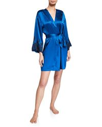 Josie Natori Lolita Lace-trim Silk Wrap Robe - Blue