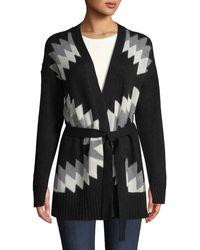 360sweater - Moxie Belted Zigzag & Skull Intarsia Wool-cashmere Cardigan - Lyst