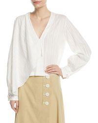 Robert Rodriguez - Long-sleeve Tonal-stripe Front Drape Cotton Blouse - Lyst