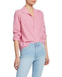 Frank & Eileen Barry Gingham Chambray Long-sleeve Button-down Shirt - Pink
