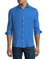 Culturata   Fray Edge Linen Sport Shirt   Lyst