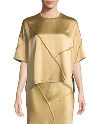 Vince - Raw-edge Silk Short-sleeve Tee - Lyst