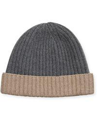 Portolano Men's Rib-knit Cashmere Beanie - Gray