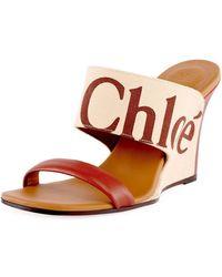 2bbc148ce14 Chloé - Verena Logo Wedge Slide Sandals - Lyst