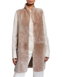 Gushlow and Cole Shearling & Knit Reversible Vest - Natural