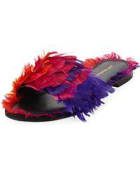 Avec Moderation - Bora Bora Feather Slipper Sandal - Lyst