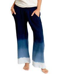 Sol Angeles Ombre Wide-leg Crepe Pants - Blue