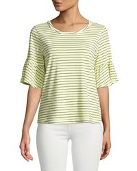 Splendid - Striped Flutter-sleeve Crewneck Tee - Lyst