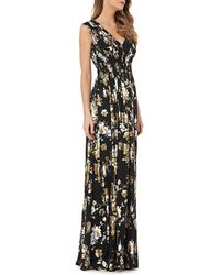 Kay Unger - V-neck Foiled Chiffon Dress W/ Smocked Waist - Lyst