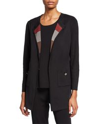 Misook Petite Easy Jacket With Striped Scarf Lapel - Black