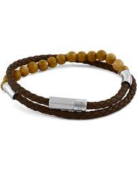 Tateossian - Men's Beaded Leather Double-wrap Bracelet - Lyst