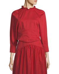 Atlantique Ascoli - Samedi Ruffled-collar Button-back Cotton-linen Blouse - Lyst