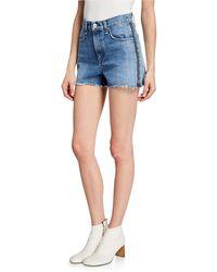Rag & Bone Maya High-rise Shorts With Zippers - Blue