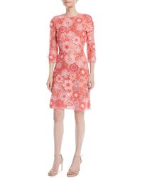 Naeem Khan - 3/4-sleeve Floral Lace-guipure Sheath Dress - Lyst
